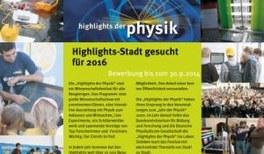 Ausschreibung Highlights der Physik 2016